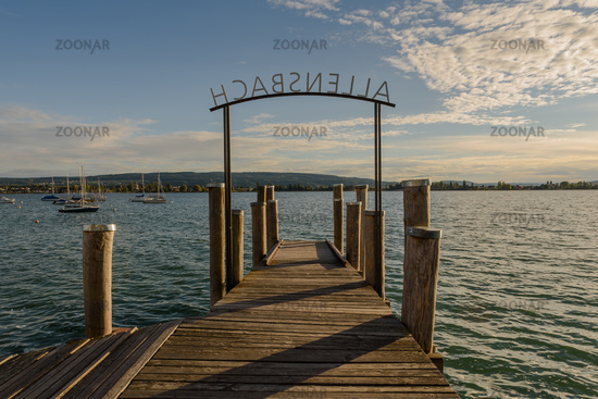 Jetty in Allensbach on Lake Constance with view of Reichenau Island, Baden-Wuerttemberg, Germany