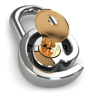 E-mail protection. At as lock and key.