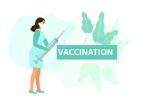 Nurse with syringe. Vaccination protection against virus. Coronavirus concept icon flat style. Isolated on a white background. Vector illustration