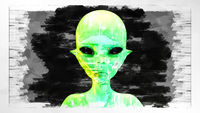 Artistic 3D illustration of an alien