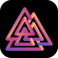 Viking Valknut icon. Colorful gradient liquid logo.