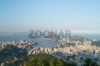 View over Sugarloaf Mountain, Botafogo and Guanabara Bay from Mirante Dona Marta in Rio de Janeiro.
