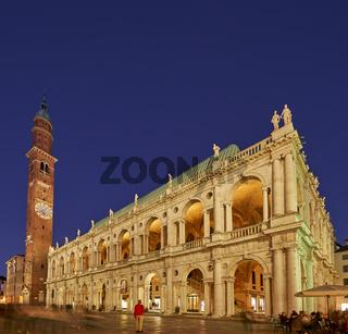 The Basilica Palladiana and Torre Bissara in Piazza dei Signori. Vicenza, Veneto, Italy