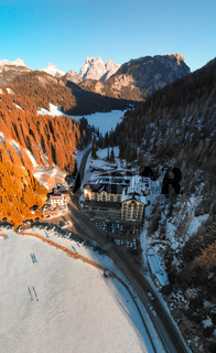 Aerial view of beautiful alpine landscape of Misurina, Italian Dolomites