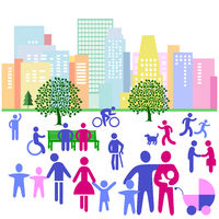 City silhouette of a city with people in leisure time, pictogram illustration