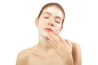 girl applying cream