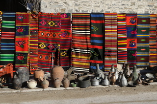 Colorful rugs in the Rhodope village of Shiroka Luka