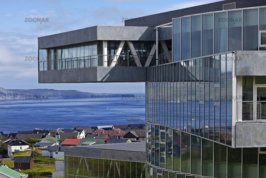Modern architecture of the Glasir Tórshavn College, Thórshavn, Faeroeer, Denmark, Europe