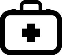 Doctor suitcase, healthcare simple black icon on white