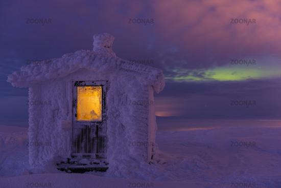 frost covered hut, Dundret, Lapland, Sweden
