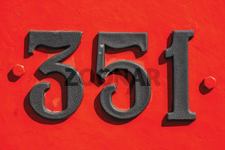Detail of iron number in an old locomotive