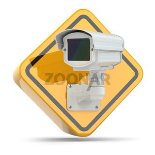 CCTV Camera. Video surveillance sign.