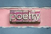 poetry word in gritty vintage letterpress metal types