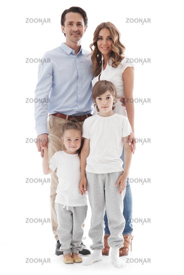 Family with children on white