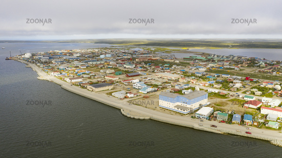 Aerial View Over the Northwest Arctic Borough of Kotzebue Alaska