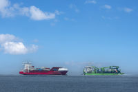 World shipping route Elbe by Cuxhaven