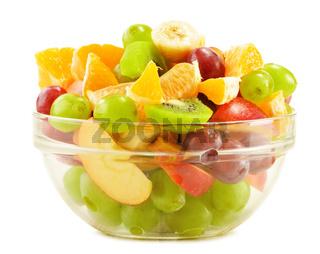 Fruit salad bowl isolated on white