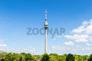 Panorama of Television and Communication Tower ger.: Donauturm in Danube Park in Donau City, Vienna, Austria, Europe