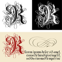 Decorative Gothic Letter K. Uncial Fraktur calligraphy.