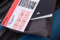 Airline ticket, passport and luggage