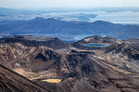 Aerial view of Blue Lake and Mount Tongariro, North Island, New Zealand, Oceania. Lake Rotoaira and