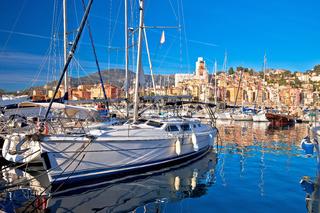 Menton. Luxury sailing harbor of Menton at Cote d Azur view