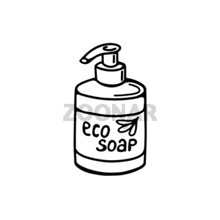 hand-drawn soap bottle isolated on a white background. Vector illustration in the Doodle style. Natural soap, toiletries.