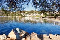 The beach Agioi Apostoloi Petries in Evia, Greece