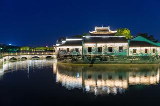 traditional architecture in jiujiang at night