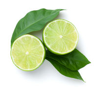 Sliced Limes With Green Leaves Isolated