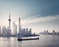 shanghai skyline and huangpu river