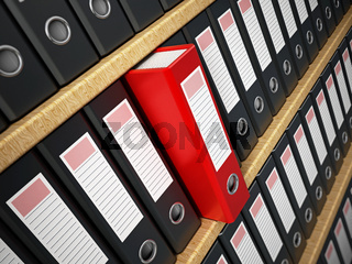 Red folder in the shelf