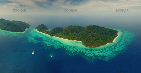 Beach corals and sea on tropical islands