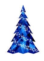 Christmas polygonal Christmas tree with snowflakes