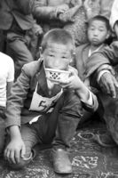 The winner of the horse race at Naadam festival receives a bowl of fermented mare's milk, photo 1977
