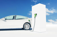 White electric car charges at a charging station, zero emissions, alternative transport, charging infrastructure
