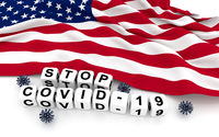 Unitet States of America  flag and text stop covid-19.