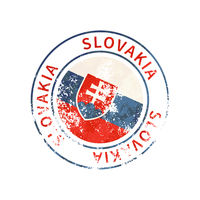 Slovakia sign, vintage grunge imprint with flag on white
