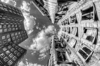 between the Gehry buildings