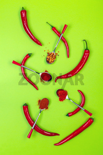 Different types of red hot pepper.