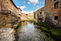 Picturesque Village Orbaneja Del Castillo in Burgos, Castilla Leon, Spain.