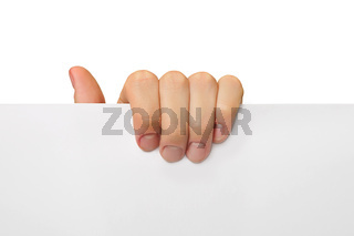 hand hold  with fingers white paper