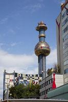 Refuse incineration plant Spittelau, Facade from Friedensreich Hundertwasser, Vienna, Austria