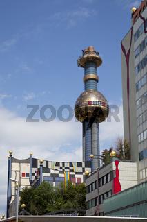 Muellverbrennungsanlage Spittelau, Fassade gestaltet von Friedensreich Hundertwasser,  Wien