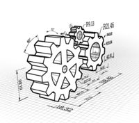 Set of gears on a white background. Vector illustration, blueprint style.