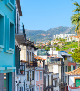 Old Town street Funchal Madeira