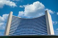 Detail View on Building of United Nations Organization (UNO), ger. Vereinte Nationen in Danube City, Vienna, Austria, Europe