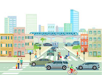 Road traffic in the city, illustration