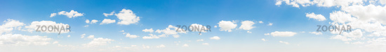 Summer sky background with warm and soft sunny tonings. Wide angle panorama for design works