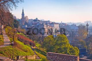 Belgrade. View from Kalemegdan walkway on old city landmarks